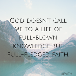 God doesn't call me to a life of full-blown knowledge but full-fledged faith.